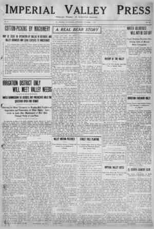 Imperial Valley Press Gazetesi 1 Ekim 1910 kapağı