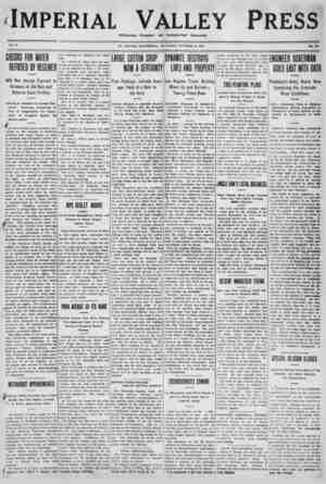Imperial Valley Press Gazetesi 8 Ekim 1910 kapağı