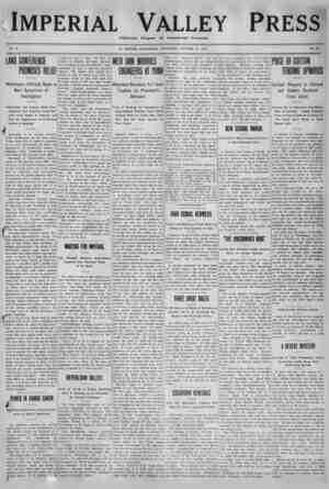 Imperial Valley Press Gazetesi 15 Ekim 1910 kapağı