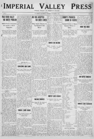 Imperial Valley Press Gazetesi 3 Aralık 1910 kapağı