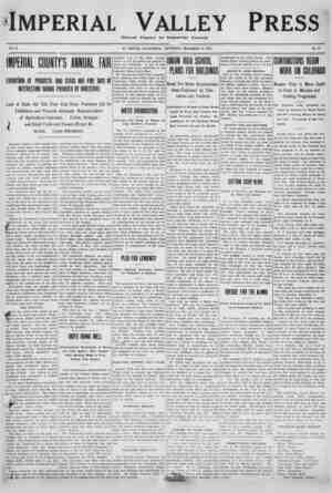 Imperial Valley Press Gazetesi 17 Aralık 1910 kapağı
