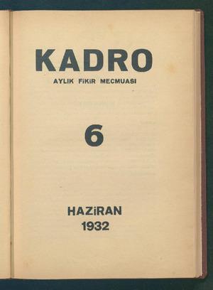 Kadro Dergisi 1 Haziran 1932 kapağı