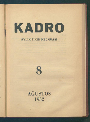 Kadro Dergisi 1 Ağustos 1932 kapağı
