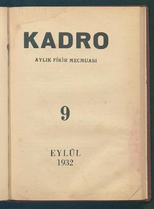 Kadro Dergisi 1 Eylül 1932 kapağı