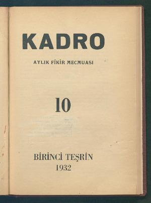 Kadro Dergisi 1 Ekim 1932 kapağı