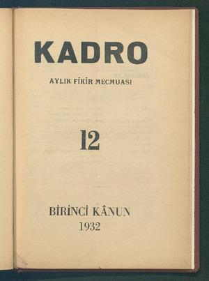 Kadro Dergisi 1 Aralık 1932 kapağı