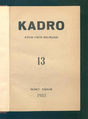Kadro Dergisi 1 Ocak 1933 kapağı