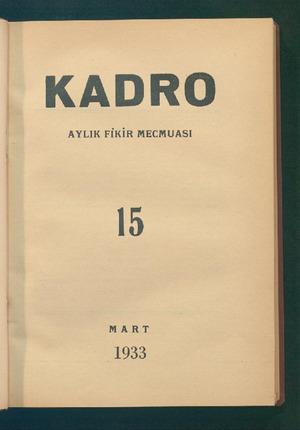 Kadro Dergisi 1 Mart 1933 kapağı