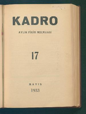 Kadro Dergisi 1 Mayıs 1933 kapağı