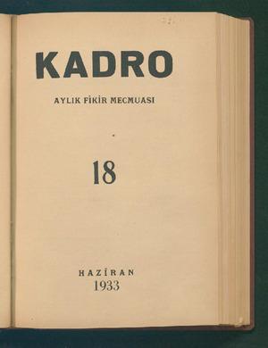 Kadro Dergisi 1 Haziran 1933 kapağı