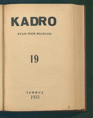 Kadro Dergisi 1 Temmuz 1933 kapağı