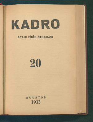 Kadro Dergisi 1 Ağustos 1933 kapağı