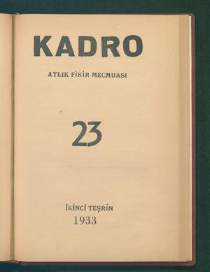 KADRO AYLIK FİKİR MECMUASI 23 İKİNCİ TEŞRİN 1953 ...
