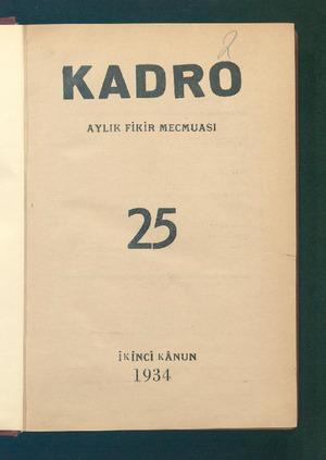 KADRO AYLIK FİKİR MECMUASI 2 İKİNCİ KÂNUN 1934 ...