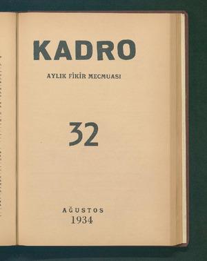 -KADRO AYLIK FİKİR MECMUASI 22 AĞUSTOS 1934 ...