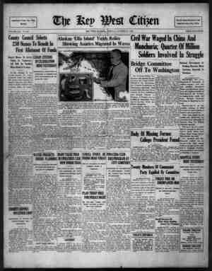 The Key West Citizen Gazetesi 11 Ekim 1932 kapağı