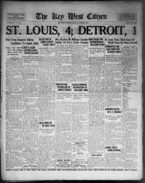 AocUtd Press Day Win Service. I Years Devoted to the Beet Interests of Key Wert VOLUME LV. No. 237. ST. LOUIS, 4; DETROIT, 1