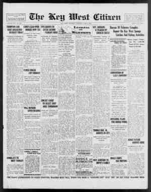 Associated Press Day Wire Service. For 56 Years Demoted to the Best Interests of Key West VOLUME LVII. No. 138. THOMPSON AND