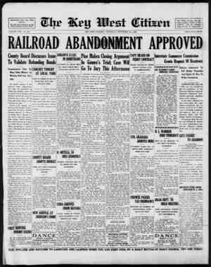 Associated Press Day Wire Service. For 56 Years Devoted to the Best Interests of Key West VOLUME LVII. No. 230. RAILROAD...