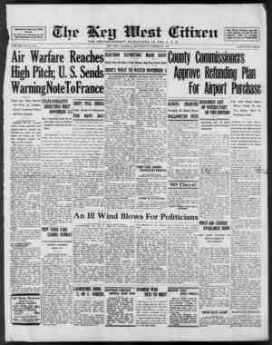 Aociftted Press Day Wire Service For 60 Years Devoted to the Best Interests of Key West VOLUME LXI. No. 256. Air Warfare...