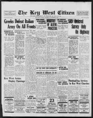 Awociat* 1 Press Day Wire Service For 60 Years Devoted to the Best Interests of Key West VOLUME LXI. No. 283. Greeks Defeat