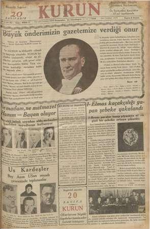 Kurun Gazetesi 22 Kasım 1934 kapağı