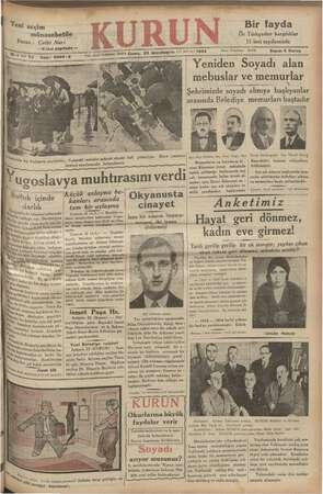 Kurun Gazetesi 23 Kasım 1934 kapağı