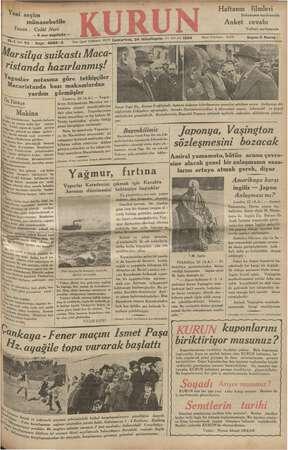 Kurun Gazetesi 24 Kasım 1934 kapağı