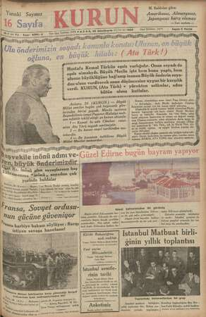 Kurun Gazetesi 25 Kasım 1934 kapağı