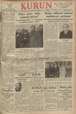 Kurun Gazetesi 26 Kasım 1934 kapağı