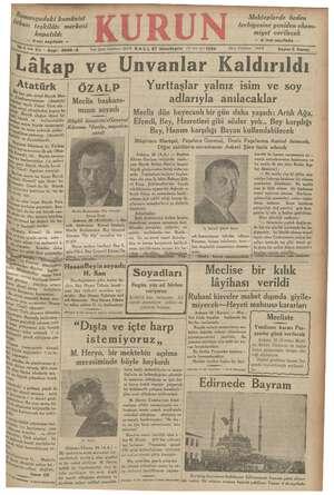 Kurun Gazetesi 27 Kasım 1934 kapağı