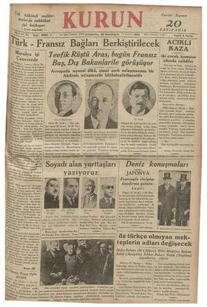 Kurun Gazetesi 28 Kasım 1934 kapağı