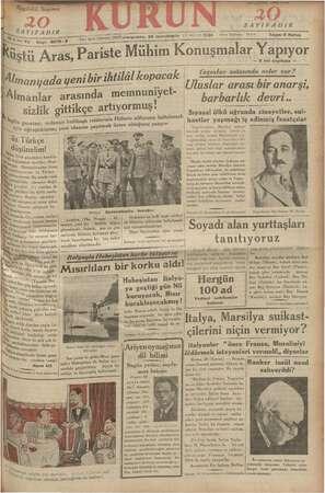 Kurun Gazetesi 29 Kasım 1934 kapağı
