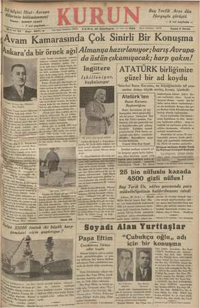 Kurun Gazetesi 30 Kasım 1934 kapağı