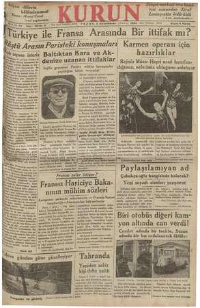 Kurun Gazetesi 1 Aralık 1934 kapağı
