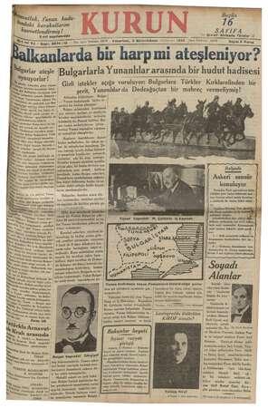 Kurun Gazetesi 3 Aralık 1934 kapağı