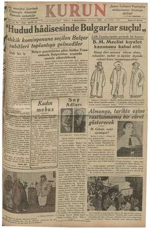 Kurun Gazetesi 4 Aralık 1934 kapağı