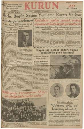 Kurun Gazetesi 5 Aralık 1934 kapağı