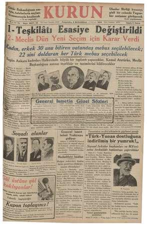 Kurun Gazetesi 6 Aralık 1934 kapağı