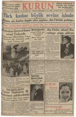 Kurun Gazetesi 7 Aralık 1934 kapağı