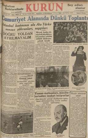 Kurun Gazetesi 8 Aralık 1934 kapağı