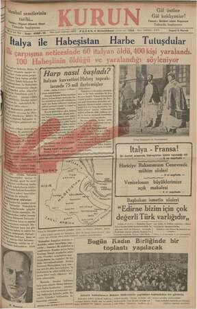 Kurun Gazetesi 9 Aralık 1934 kapağı