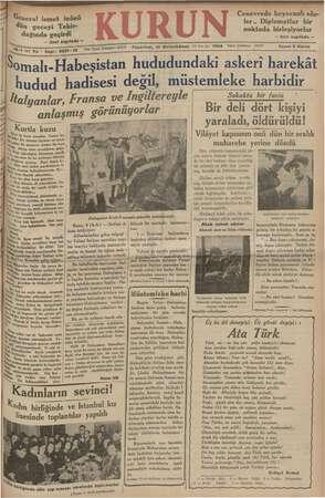 Kurun Gazetesi 10 Aralık 1934 kapağı
