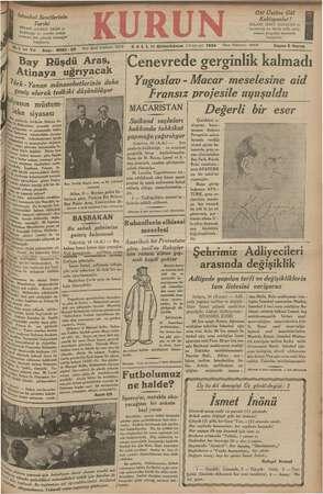 Kurun Gazetesi 11 Aralık 1934 kapağı