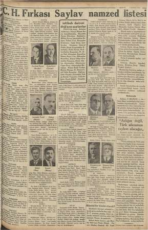 —7 — KURUN 5 ŞUBAT 1935 — .H. Fırkası Saylav namzed İistesi u Şe Me ini (Tüccar ve atan |. | e i OLE Delik Ek evet Tör,...
