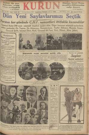 , aikevinin verdiği alcya şereflendirdi — 2 nci sayıfada — m mu Atatürkten     Usa beyannamel  Köz ça am işi dileğimiz...
