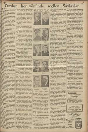 9 — KURUN YŞUBAT 1935 Yurdun her yönünde seçilen Mer öğ tarafı 1 inci sahifede) id Abay neticeleri 8(A.A.) —DAHİLİ- k MY