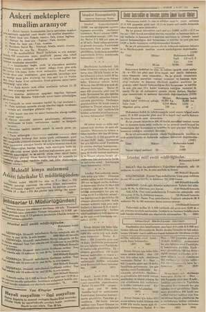 — KURUN $ MART 1935 Askeri mekteplere muallim aranıyor > Askeri liselerle Kırıkkaledeki San'at mektebine veaskeri onan...