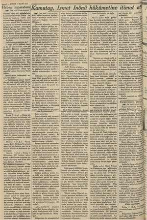 """10 — KURUN $ MART 1935 """"Habeş imparatoru . pe Baş tarafı 1 İnel sayrfada) tilmesini kabul etti, Adisababada başlıyan..."""