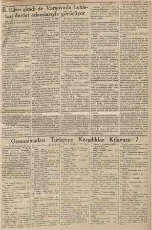 ame B. Ed Eden imdi EE Varşovada Lehis- devlet adamlarıyle görüşüyor tan . ci sayıfada) Baş tarafı 1 veDış Dz Bakan...